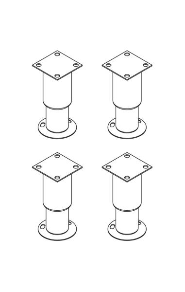 Füsse für Ofen 150 mm h - mit Fusshalter