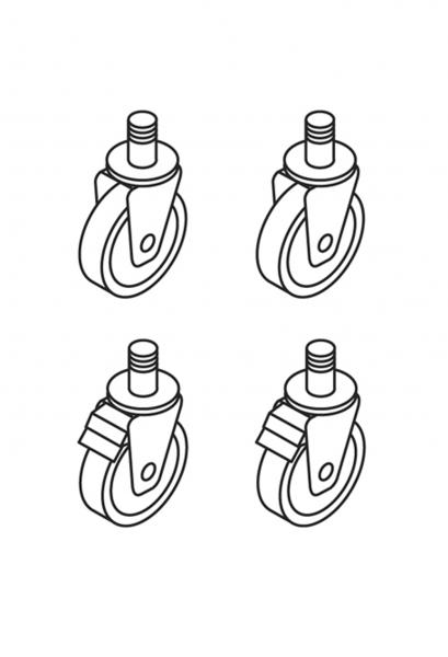 Rädersatz 2 mit Bremse geflanscht