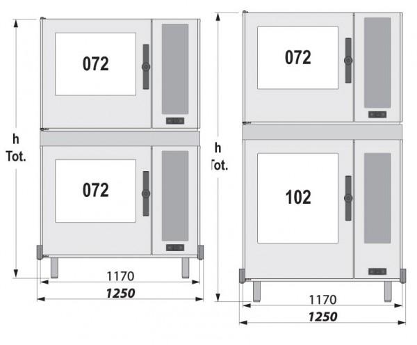 LEO Stapelkit für Modelle 072/072 und 102/072 unteres Gerät Gas